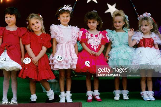 young contestants in girls beauty contest - beauty contest stock pictures, royalty-free photos & images