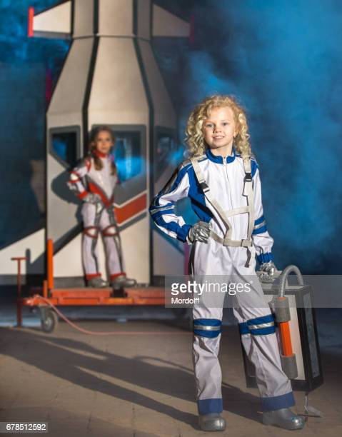 Young Cosmonauts. Two Girls At Cosmodrome Launch Pad