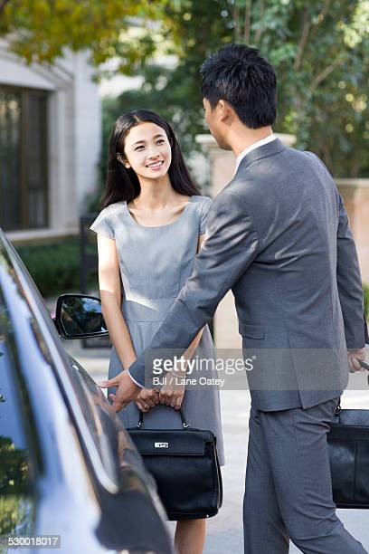 Young couple and car