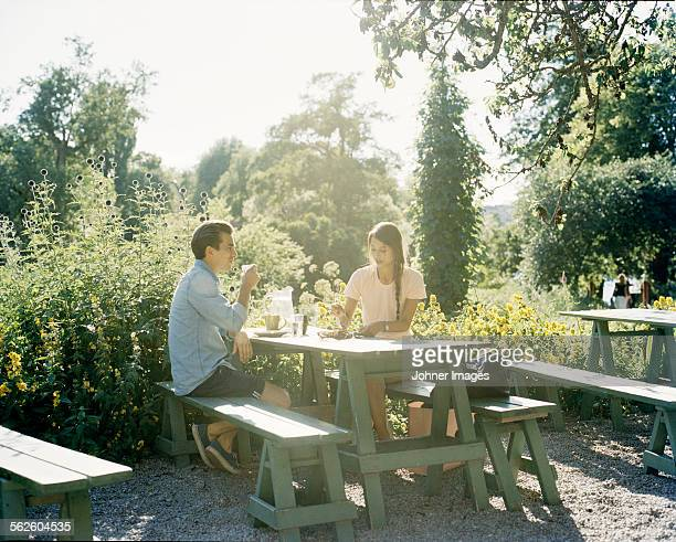 Young couple at cafe