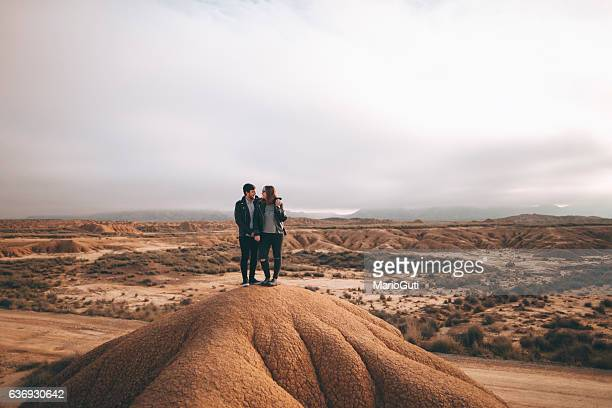 Young couple at desert