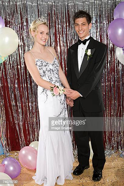 young couple at prom - prom stock pictures, royalty-free photos & images