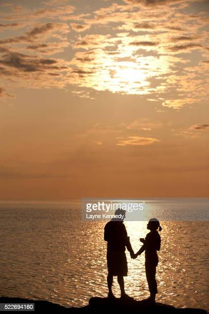Young couple at sunrise