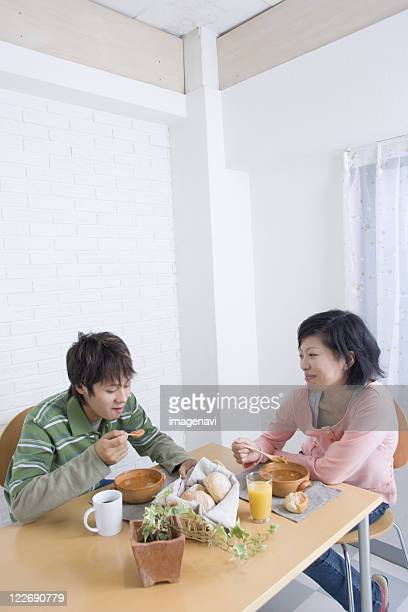 Young couple at table
