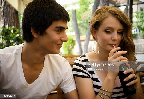 young couple at the cafe - sexy teens stock pictures, royalty-free photos & images