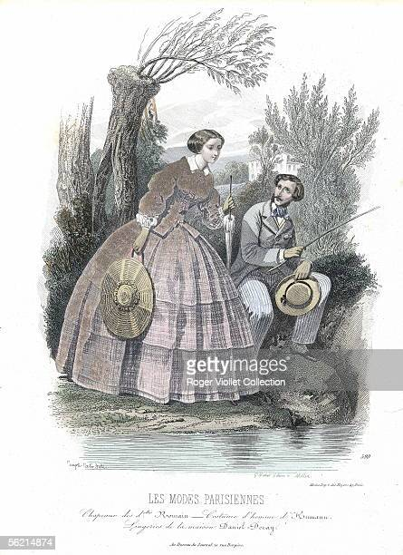 Young couple at the water's edge about 1850 Engraving 'Les Modes parisiennes'