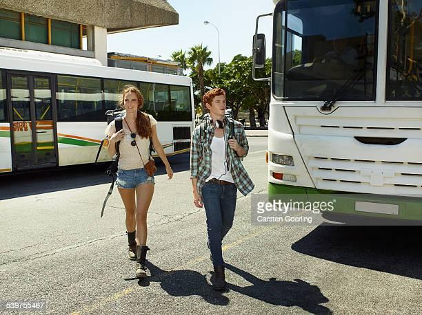 young couple backpacking