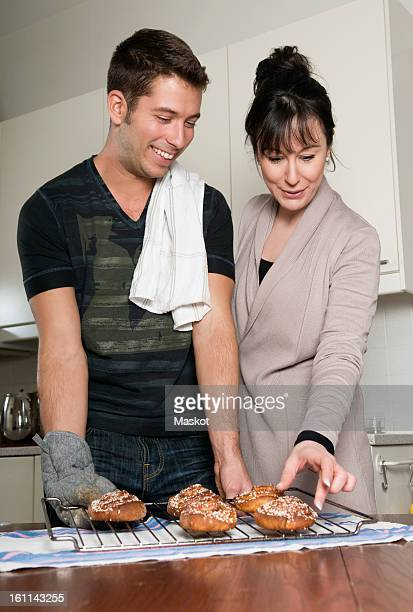 Young couple baking