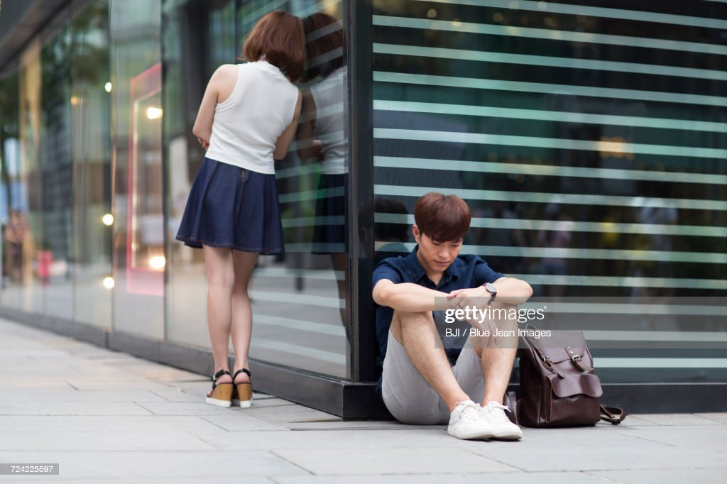 Young couple being difficult with each other : Stock Photo