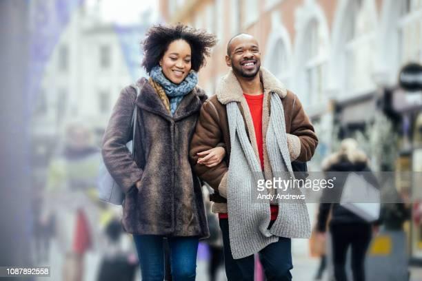 Young couple Christmas shopping