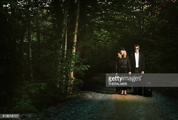 young couple dress with dark clothes