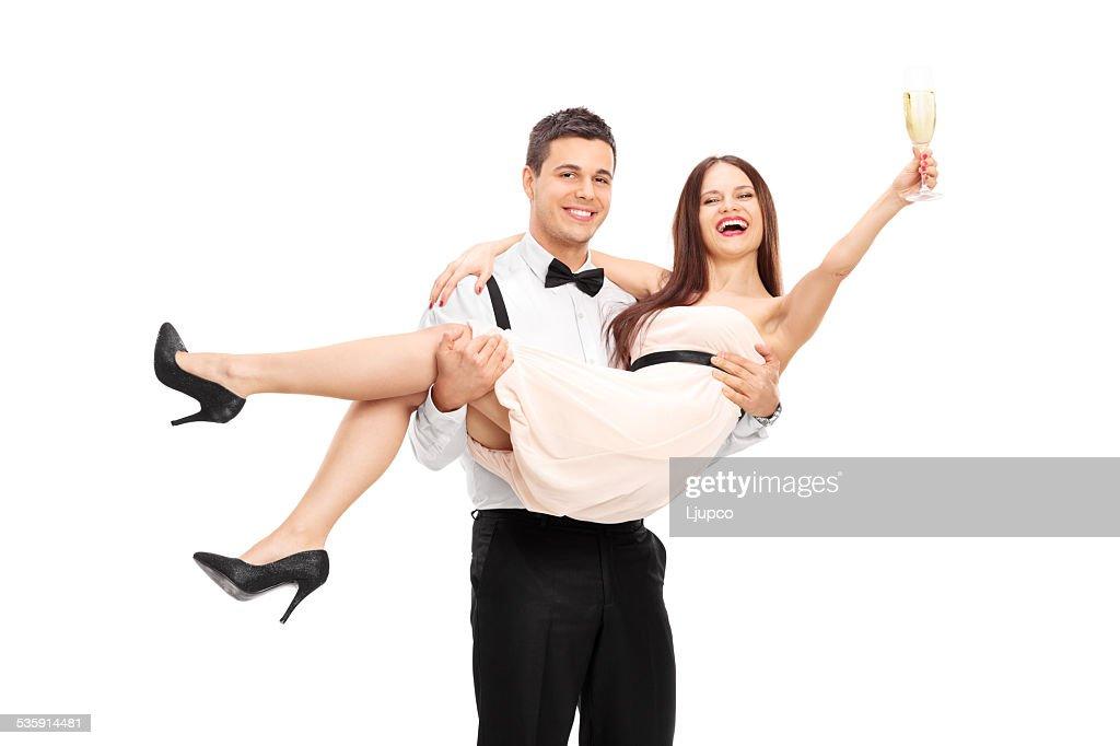 Casal Jovem beber champanhe e divertir-se : Foto de stock