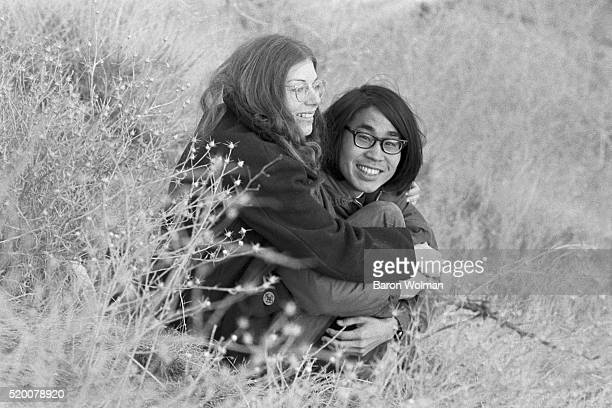 A young couple embraces at the Altamont Speedway Free Festival in Northern California held on Saturday December 6 1969