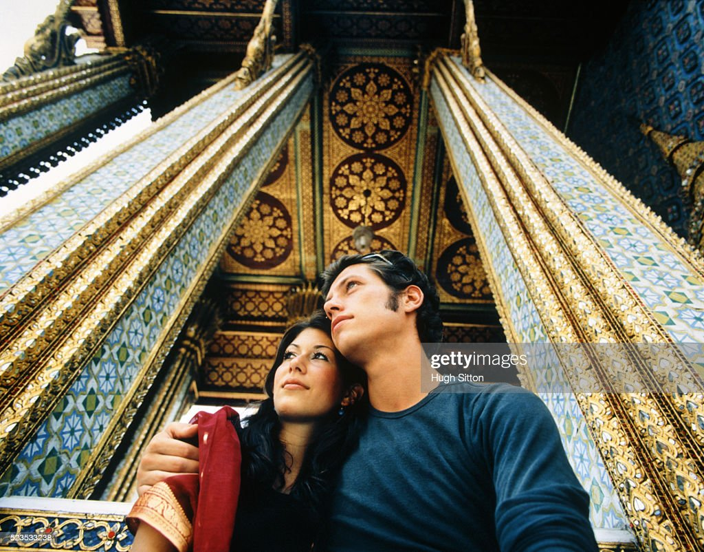 Young Couple Embracing at Palace : Stock Photo