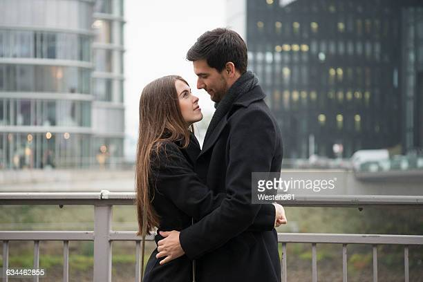 Young couple embracing outdoors