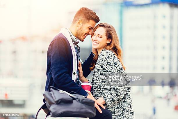 Young couple enjoying being together