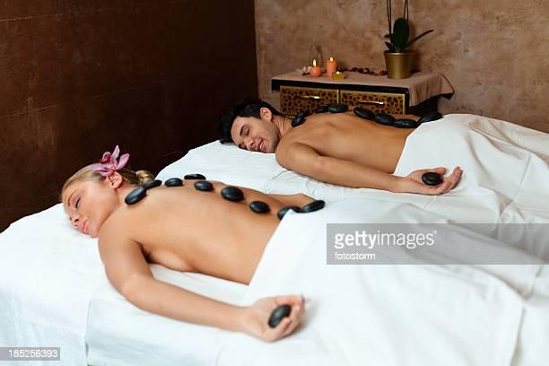 Young couple enjoying lastone therapy
