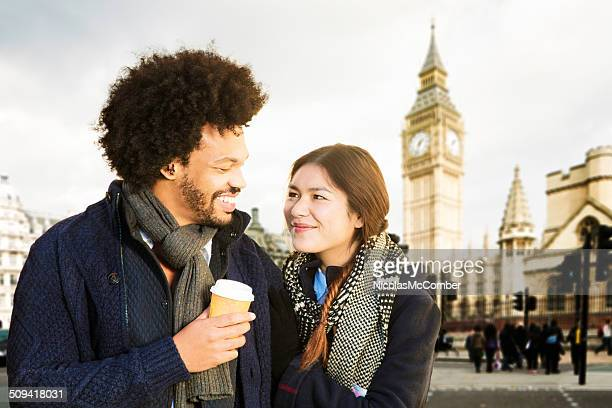 Young couple enjoying London