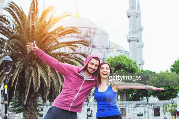 Young couple enjoying their vacation in Istanbul