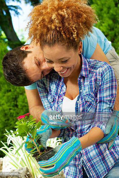 young couple gardening. - black women kissing white men stock pictures, royalty-free photos & images