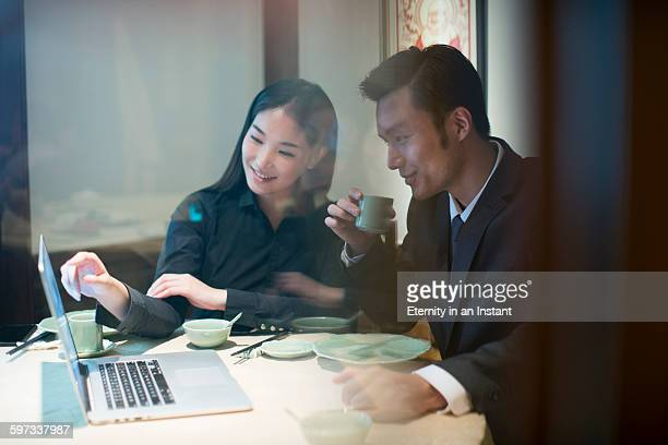 Young couple having a business meeting
