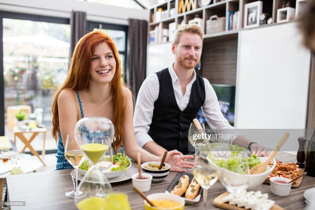 Young couple having a launch. : Stock Photo