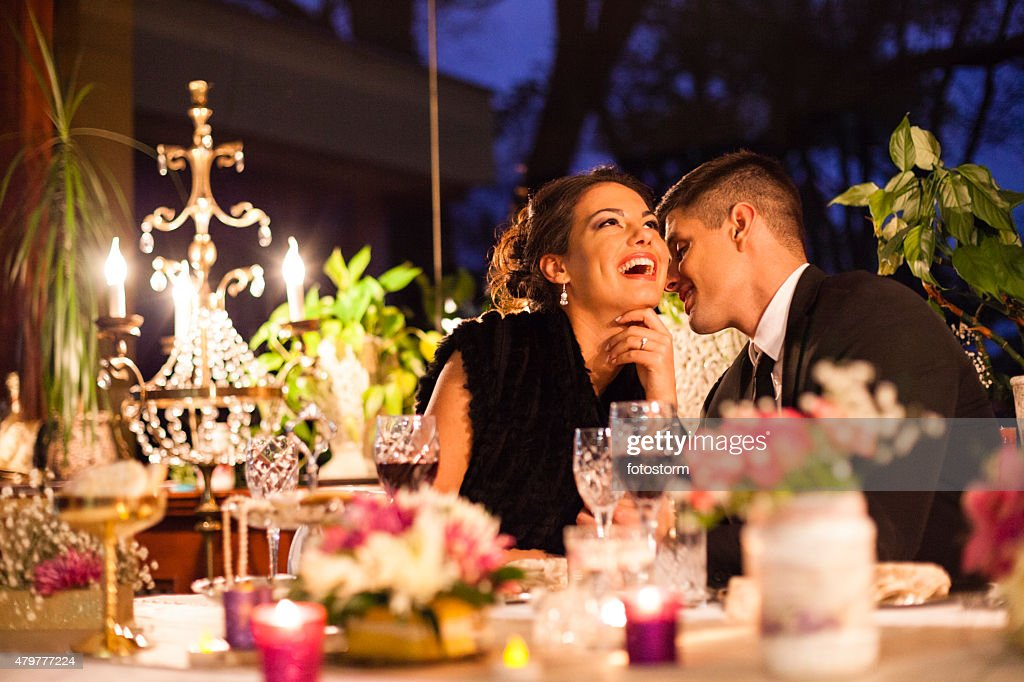 Young couple having dinner at a restaurant. : Stock Photo