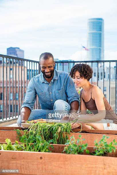 Young couple having fun gardening together