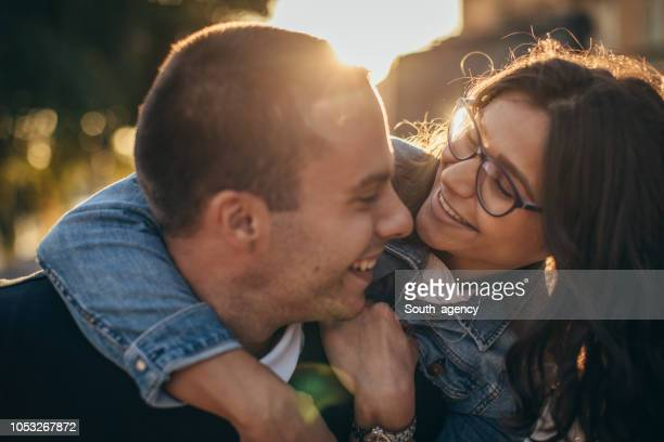 young couple having fun - love at first sight stock pictures, royalty-free photos & images