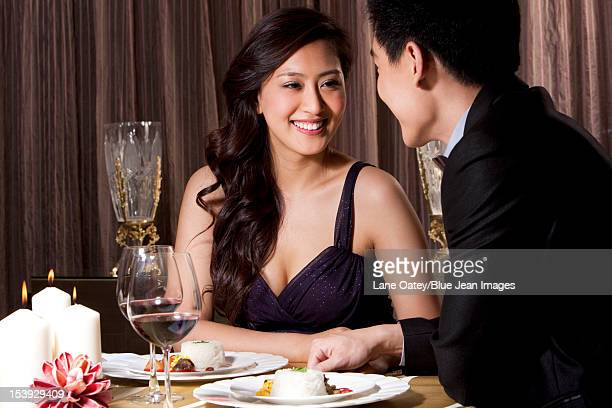 Young couple having romantic dinner