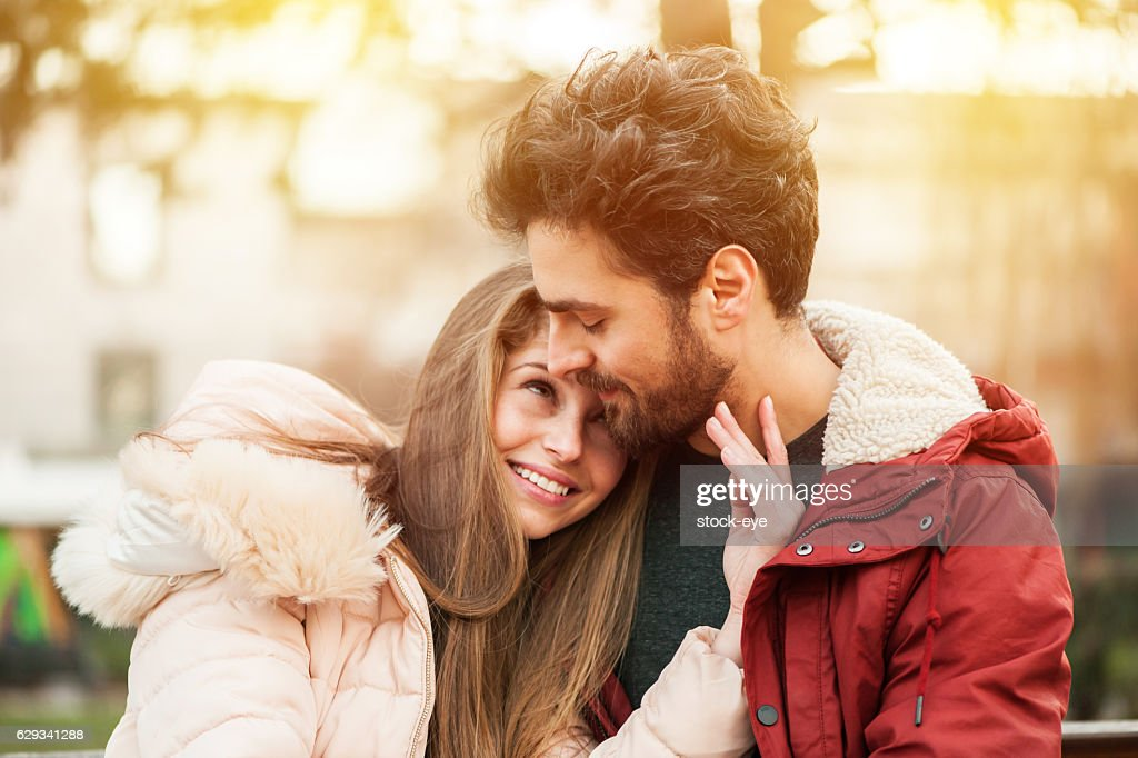 Young Couple in a Park : Stock Photo