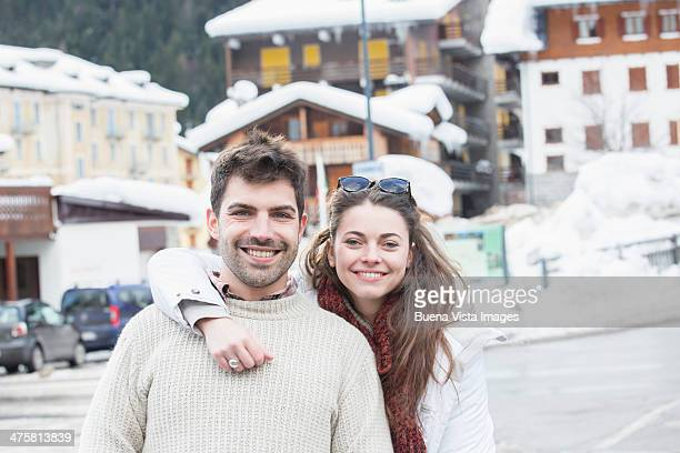 Young couple in a ski resort