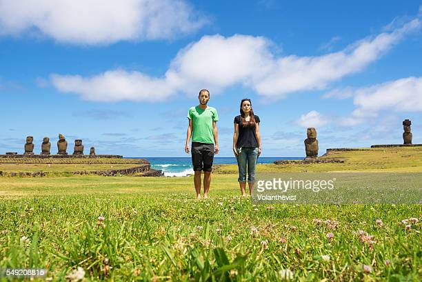 Young couple in holidays at Rapa Nui Island, Chile