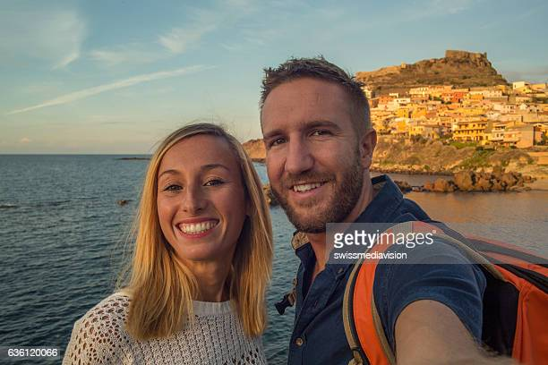 Young couple in Italy take a selfie portrait
