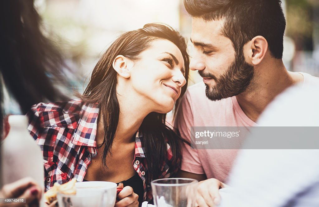 Young couple in love at the coffee bar : Stock Photo
