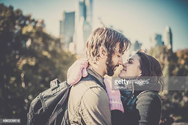 Young Couple in Love in Central Park, NYC