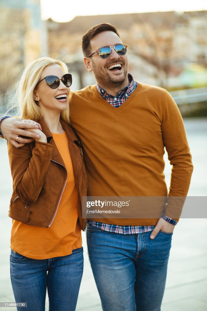 Young couple in love outdoors : Stock Photo