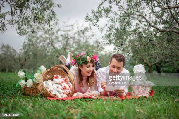Young Couple In Love Planning Romantic Wedding