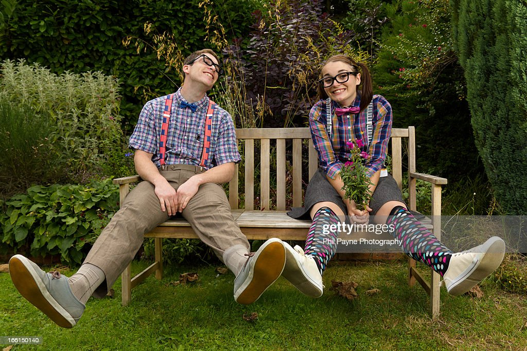 Young Couple In Nerd Fancy Dress : Stock Photo