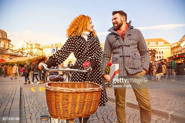 Young couple in the city during christmas
