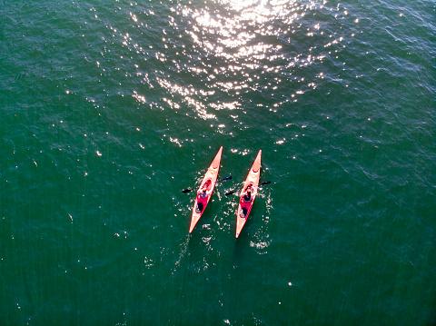 Young couple kayaking. - gettyimageskorea