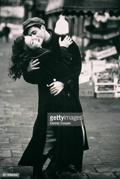 Young couple kissing and embracing