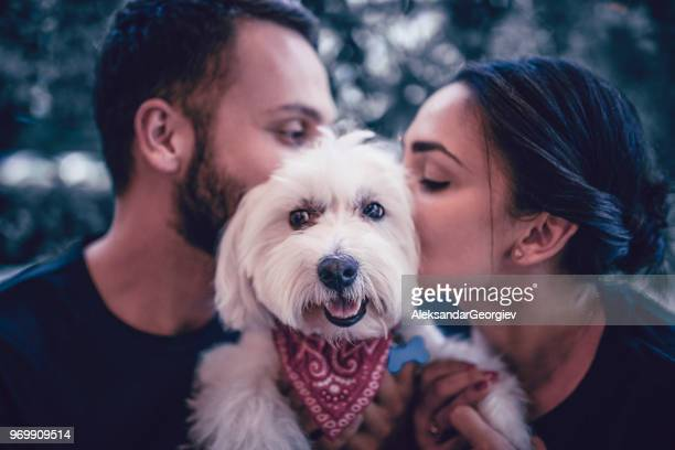 young couple kissing their furry canine friend - pet adoption stock pictures, royalty-free photos & images