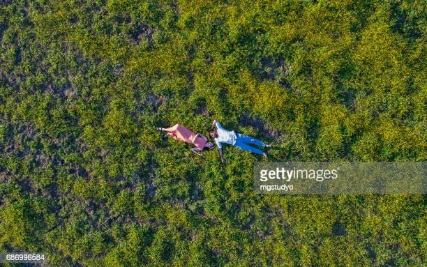 若いカップルが草に敷設します。