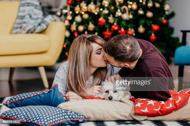 Young couple lying on the pillows, kissing. bichon, decorated christmas tree in the background