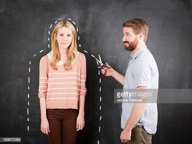 young couple, man with chalk outline - chalk outline stock pictures, royalty-free photos & images