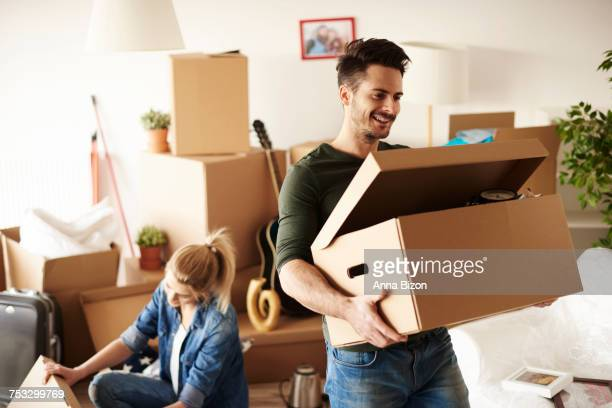 Young couple moving in to house. Debica, Poland