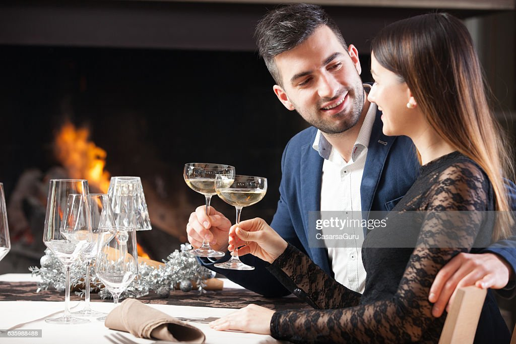 Young Couple on a Romantic Date in a Restaurant : Stock Photo