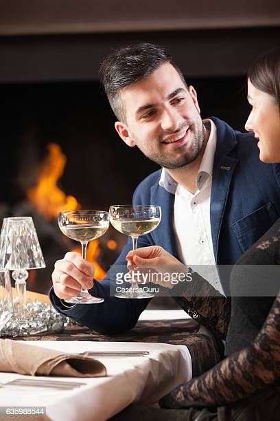 Young Couple on a Romantic Date in a Restaurant