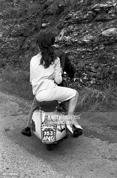 Young couple on a scooter 1959 in Cahors France